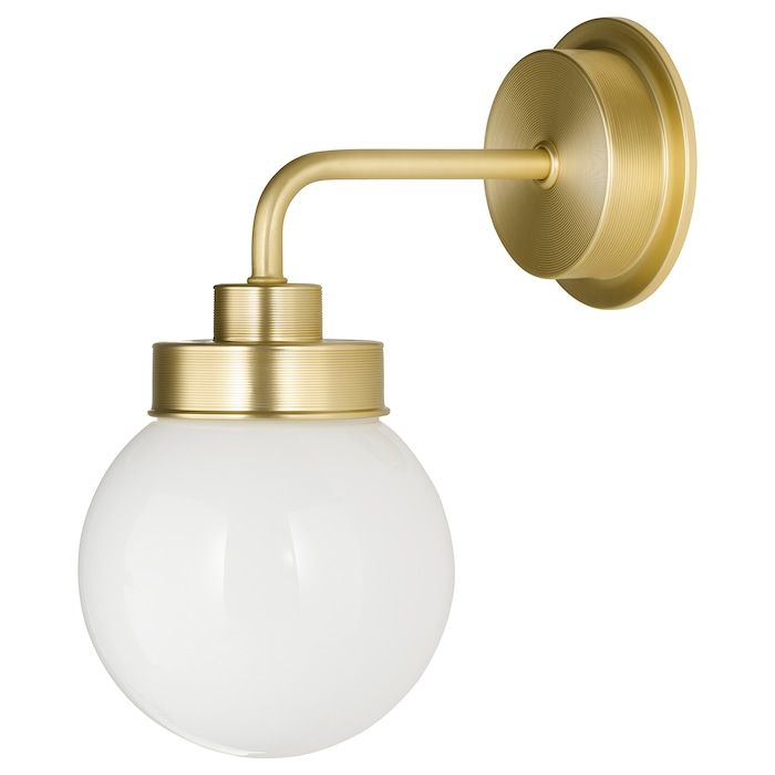 Frihult Wall Lamp Brass Color Ikea In 2020 Wall Lamp Brass Ceiling Lamp Brass Color