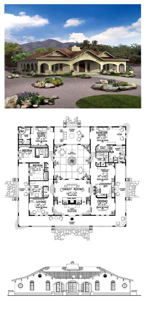 Southwest Style House Plan 90269 With 4 Bed 4 Bath Courtyard House Plans Best House Plans Spanish Style Homes