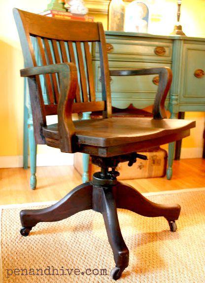 vintage bankers chair - Vintage Bankers Chair Furniture Pinterest Desks,  Vintage - Antique Bankers Chair Antique Furniture