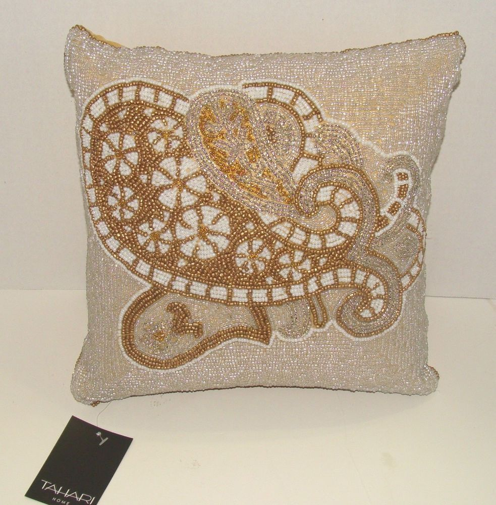 Tahari Home Decorative Pillows : TAHARI Home Beaded Gold and White Designer Throw Pillow Zipper Closure Home, UX/UI Designer ...