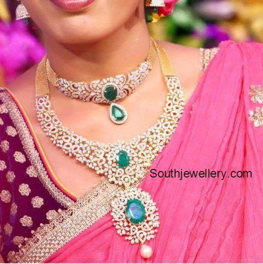 Bridal Diamond Necklace And Haram Set: Bride In Diamond Necklace And Haram Set Photo