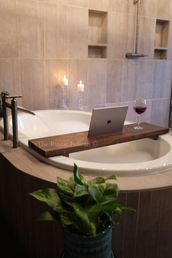 Rustic Bathtub Tray - Wooden Tray - Bath Tray - IPad Tray -Tablet ...