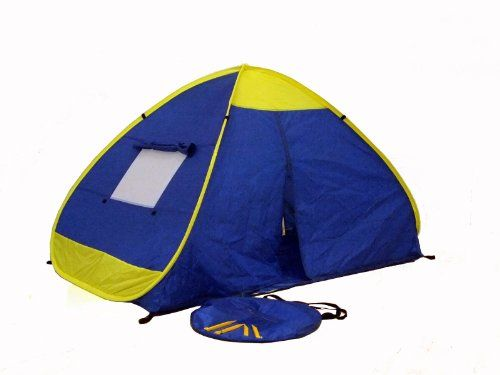 Self expanded outdoor tent auto pop opened in one second, easily folded down in 3 seconds. Packed in a 22-Inch carrying shoulder bag. Light weigh, easy to carry, suitable for beach, park and outdoor activities. Durable T190 nylon UV protected nylon (50+ UPF) rating on 4 sides of tent, flame retardant nylon meet CPAI-84 standard. Zippers back and front panels, 2 large side screen windows allow fresh air to breezes through, both windows come with r...