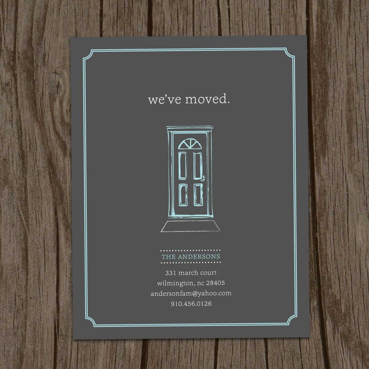 Front door moving announcement postcard flat card