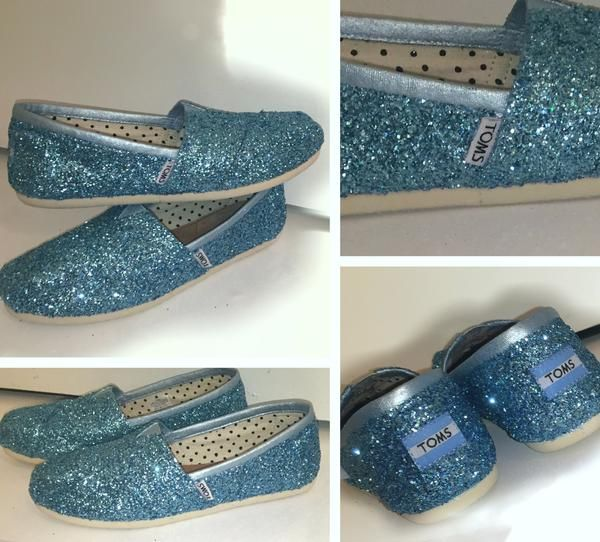 92d9079639d Sparkly Glitter Toms Cinderella Blue fairytale Wedding Bride Shoes Christmas