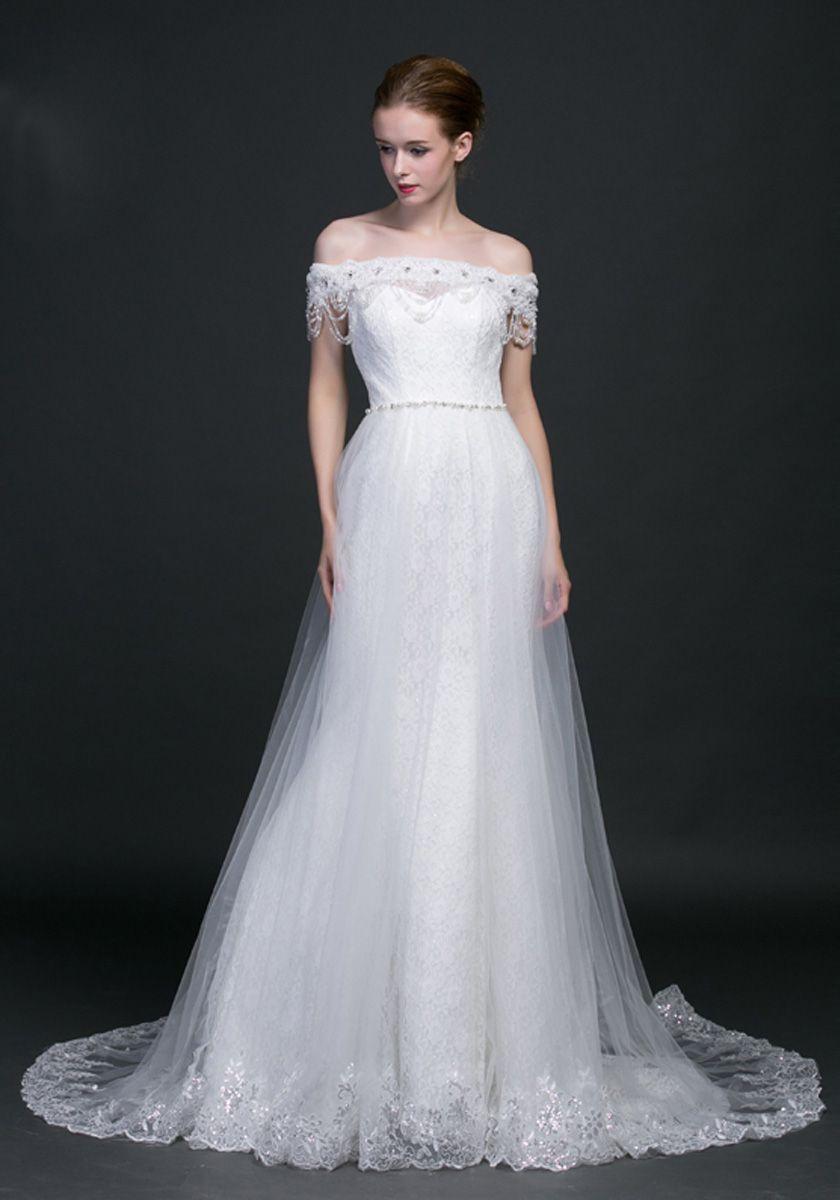 Court Train Appliques Short Sleeve A-Line Wedding Dress Waz0079