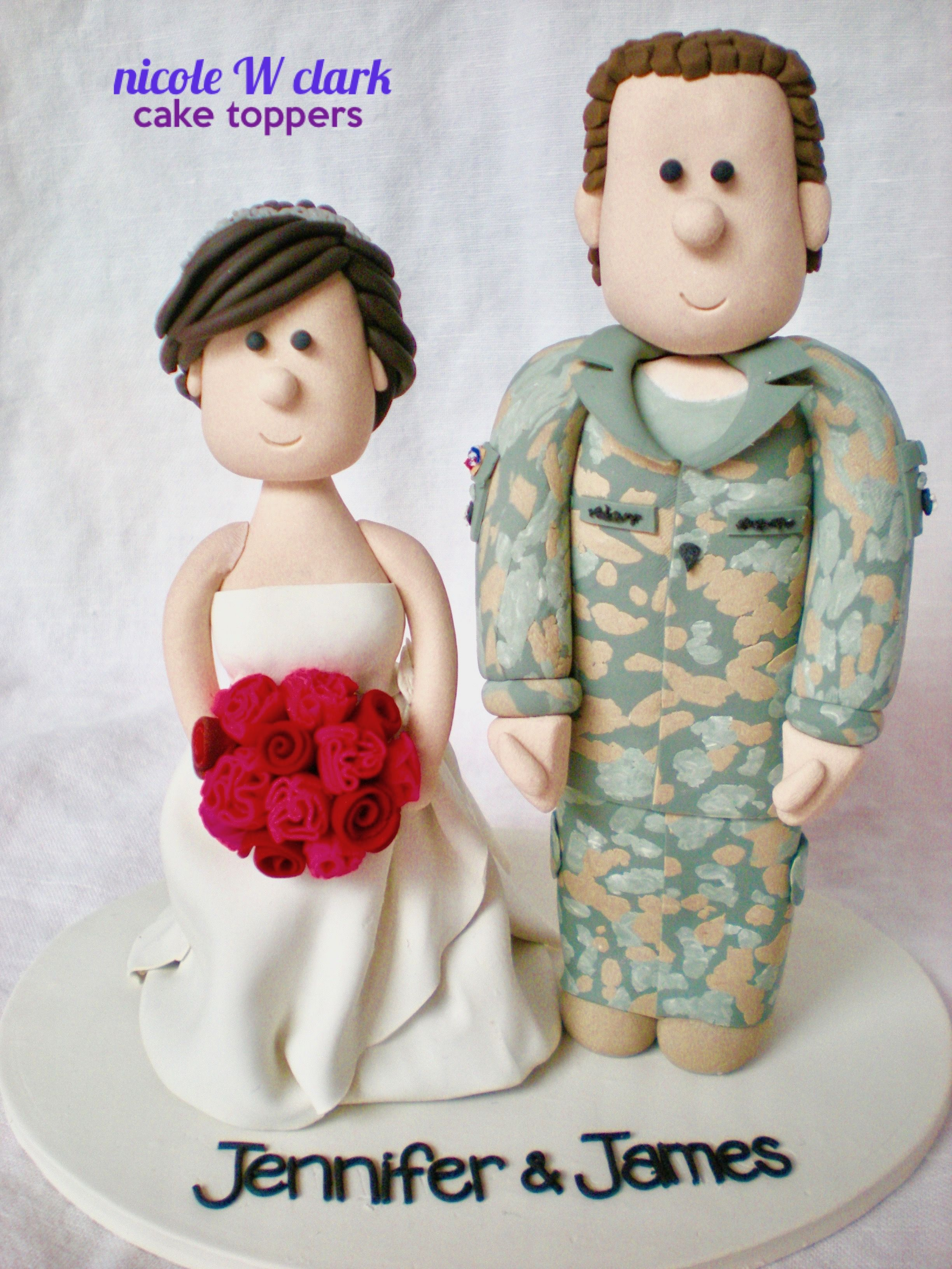 Camouflage Wedding Cake toppers  US ARMY ACU (army combat uniform