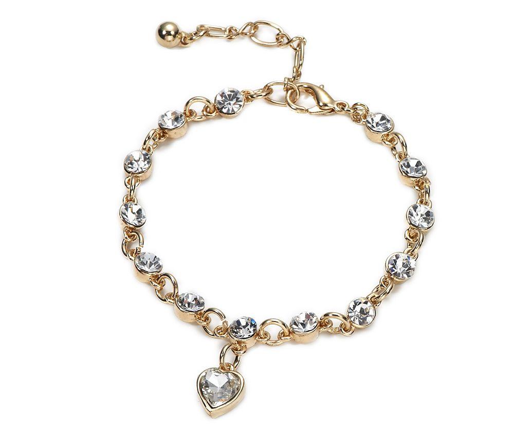 Diamante heart charm bracelet. #Fapos