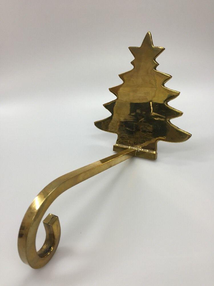 Brass Christmas Tree Stocking Holder Hanger Fireplace ...