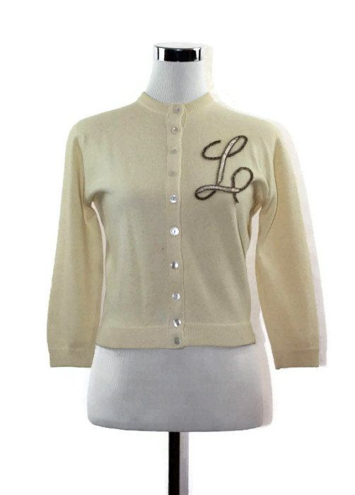 Monogram Cashmere Cardigan - Sweater - Jumper - Womens - 1950s ... effb1680c