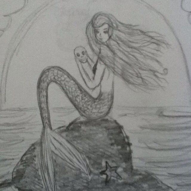Mermaid, I drew it, I'm obsessed | Sketches, Drawings, Mermaid