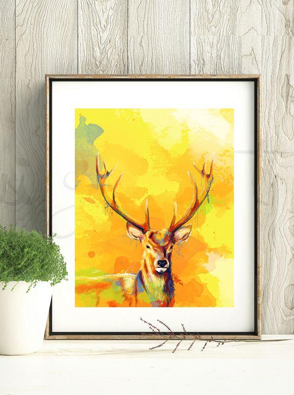 Deer Art Print, Rustic Wall Art Prints, Lodge Decor, Colorful Print ...