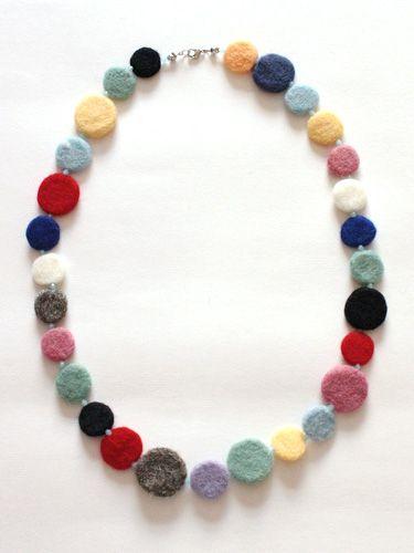Handmade Jewelry Felted Bead Necklace ~ Earrings ~ Bracelet Multicolour Felt Jewellery Set