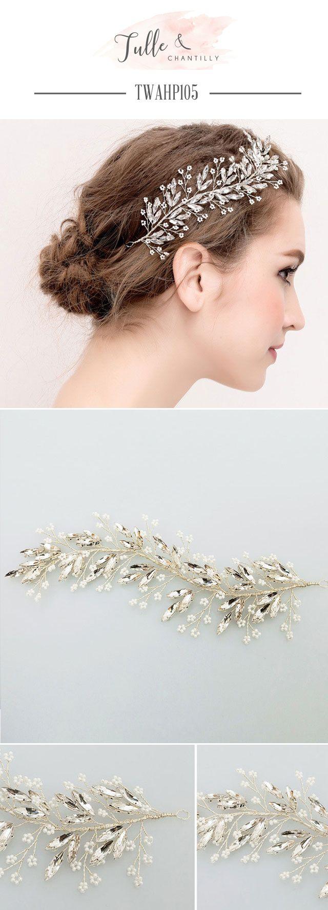 Leaf Sharped Crystals Hair Vine Piece TWAHP104