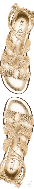a5da4412987 MICHAEL MICHAEL KORS Monterey Gladiator Metallic Leather Lace-Up Sandal