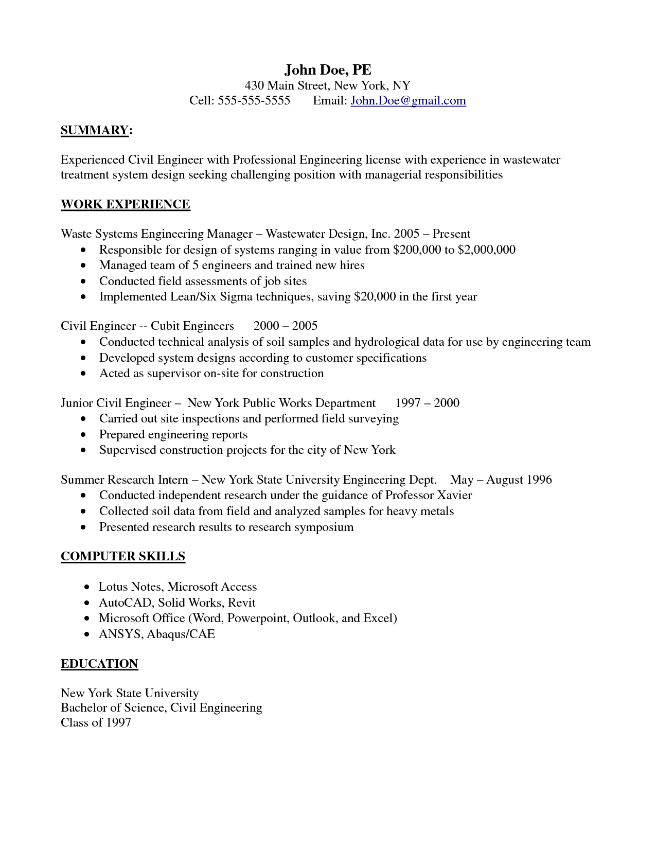 professional experience civil engineer resume templates