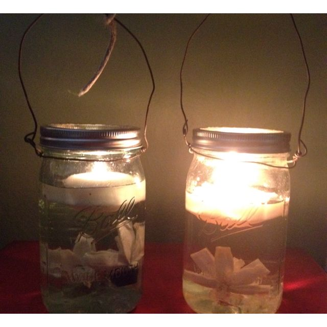 Homemade teal & clear mason jar lanterns