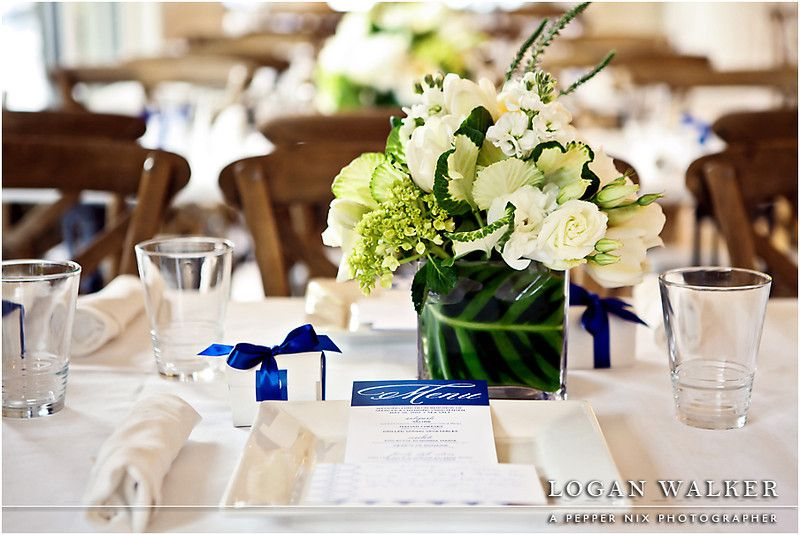 Luncheon Place Setting With White And Navy Blue Wedding Colors Held At Sea Weddingssalt Lake City