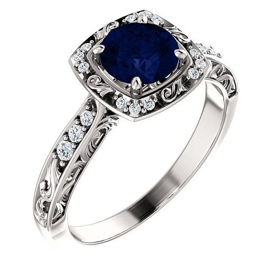 Antique Filigree Halo Diamond Blue Sapphire Engagement Ring 14K White or yellow Gold Vintage Style round cushion oval princess asscher