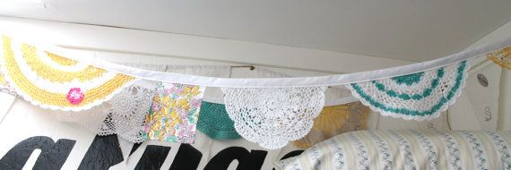 vintage doily bunting by salvageeighteen on Etsy, $30.00