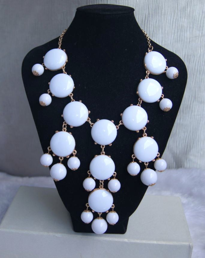 white bubble necklaceholiday partybirthdaybridesmaid by Arkpearl, $16.00