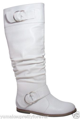 white flat heels slouchy knee high casual faux