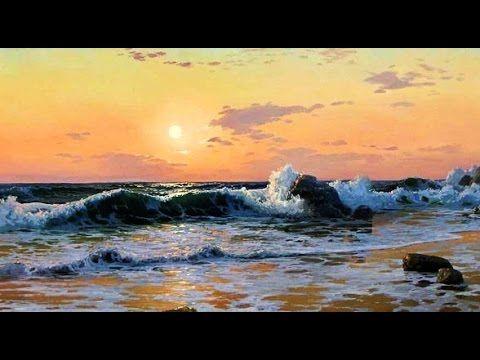 Coucher De Soleil Sur La Mer. Comment Peindre La Mer. Alla Prima