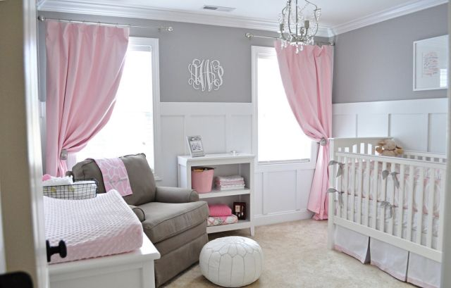 chambre b b fille en gris et rose 32 belles id es roses. Black Bedroom Furniture Sets. Home Design Ideas