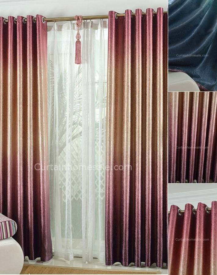 Fantasy Gradient Gold And Red Polyester Thick Thermal Bedroom Curtains
