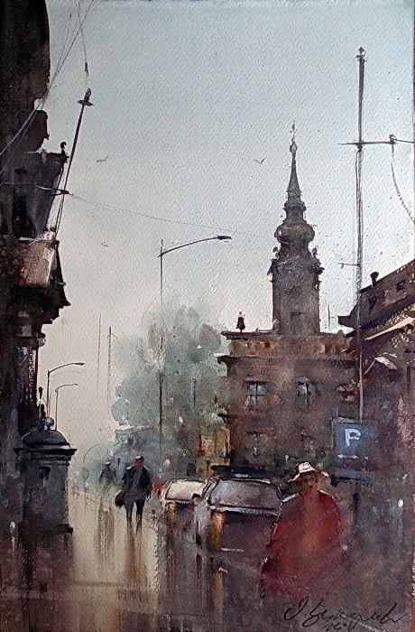 Dusan Djukaric  Rainy Janyare, 38x56 cm