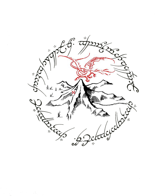 Made This Tattoo Design Up In Photoshop. Thinking This Will Be The Next One  I Have Done. A Combination Of The One Ring Text And The Lonely Mountain  W/Smaug.