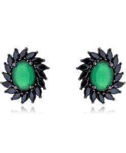 brinco rodio negro moderno com pedra verde semijoias   Brincos Joias ... 5561d01314
