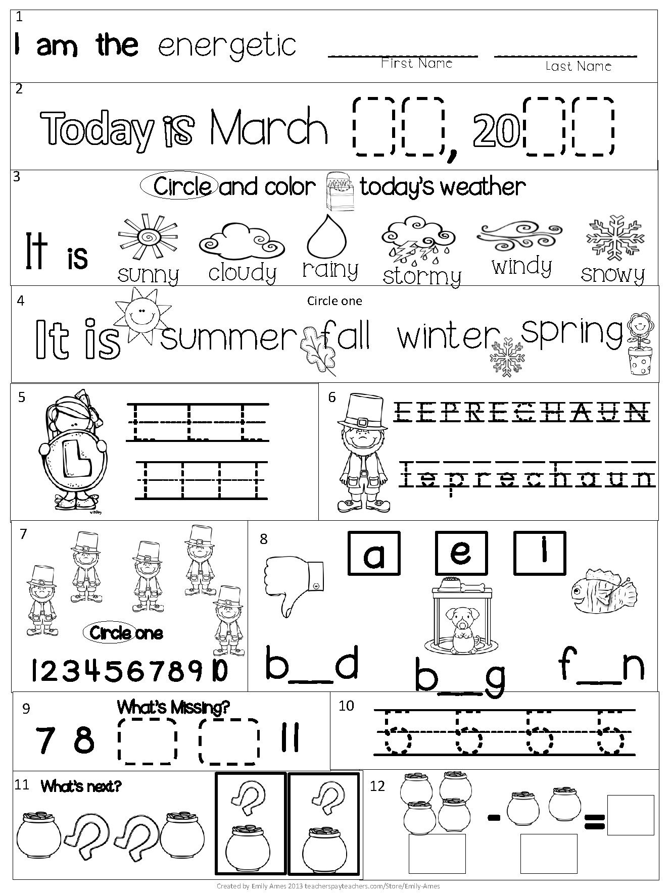 Morning Work Kindergarten Packet For March Common Core