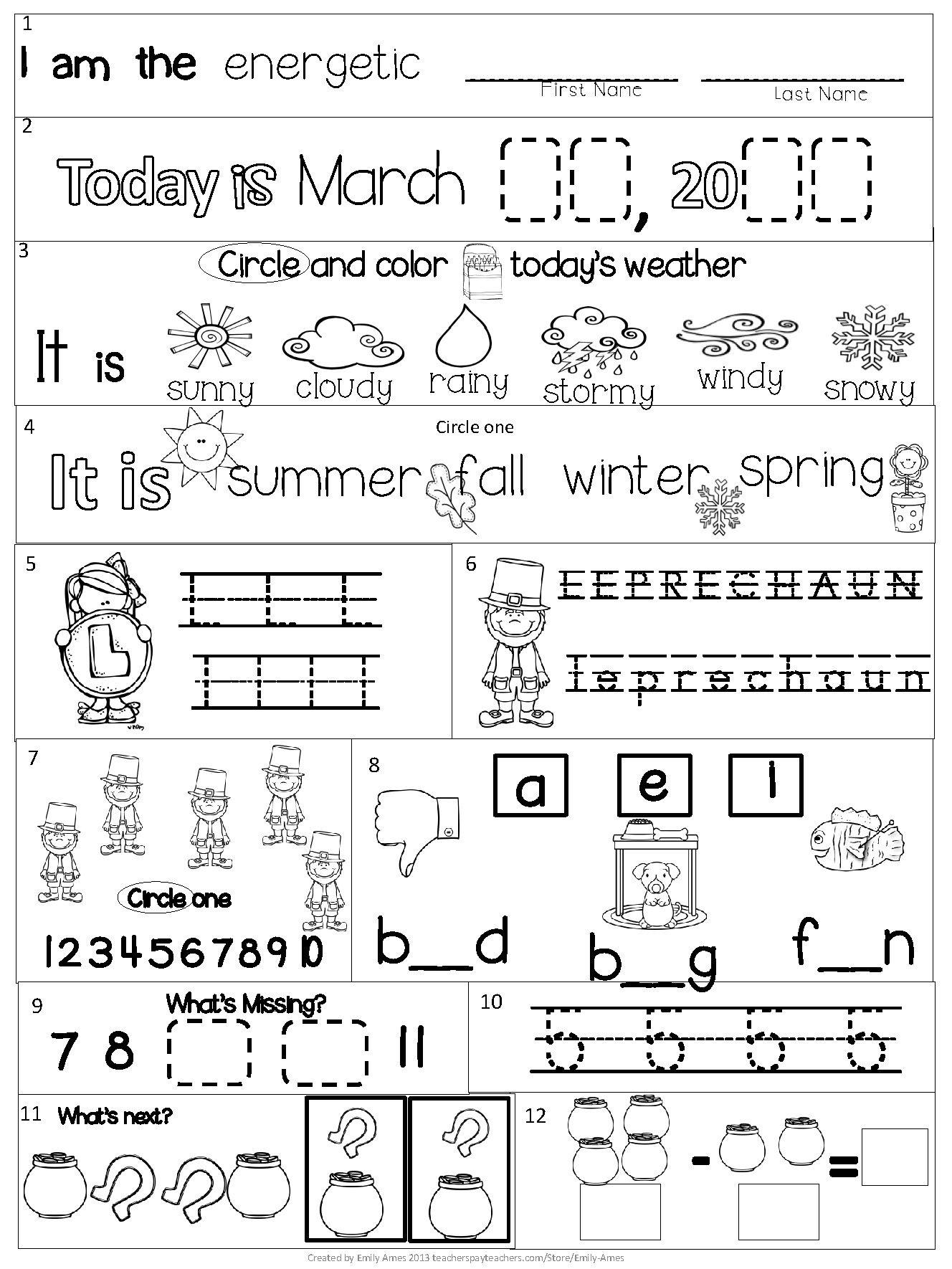 March Kindergarten Morning Work Common Core Kindergarten Morning Work Kindergarten Math Worksheets Free Kindergarten Worksheets Free march worksheets for kindergarten