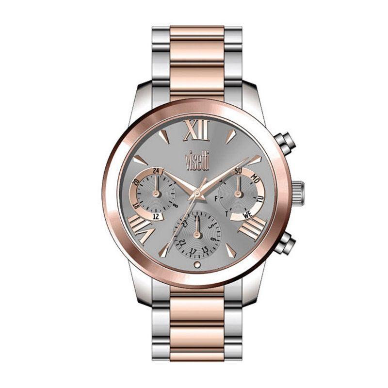 Ρολόι  Visetti της σειράς  DolceVita με δίχρωμο ατσάλινο μπρασελέ και γκρι  καντράν με ροζ 14bfb3af2ba