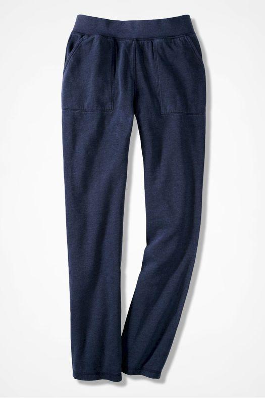 Colorwashed Fleece Straight-Leg Pants, Navy