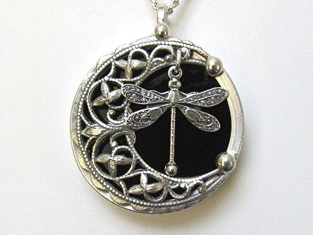 Outlander inspired Dragonfly victorian style large silver pewter pendant steam punk vintage look. gothic