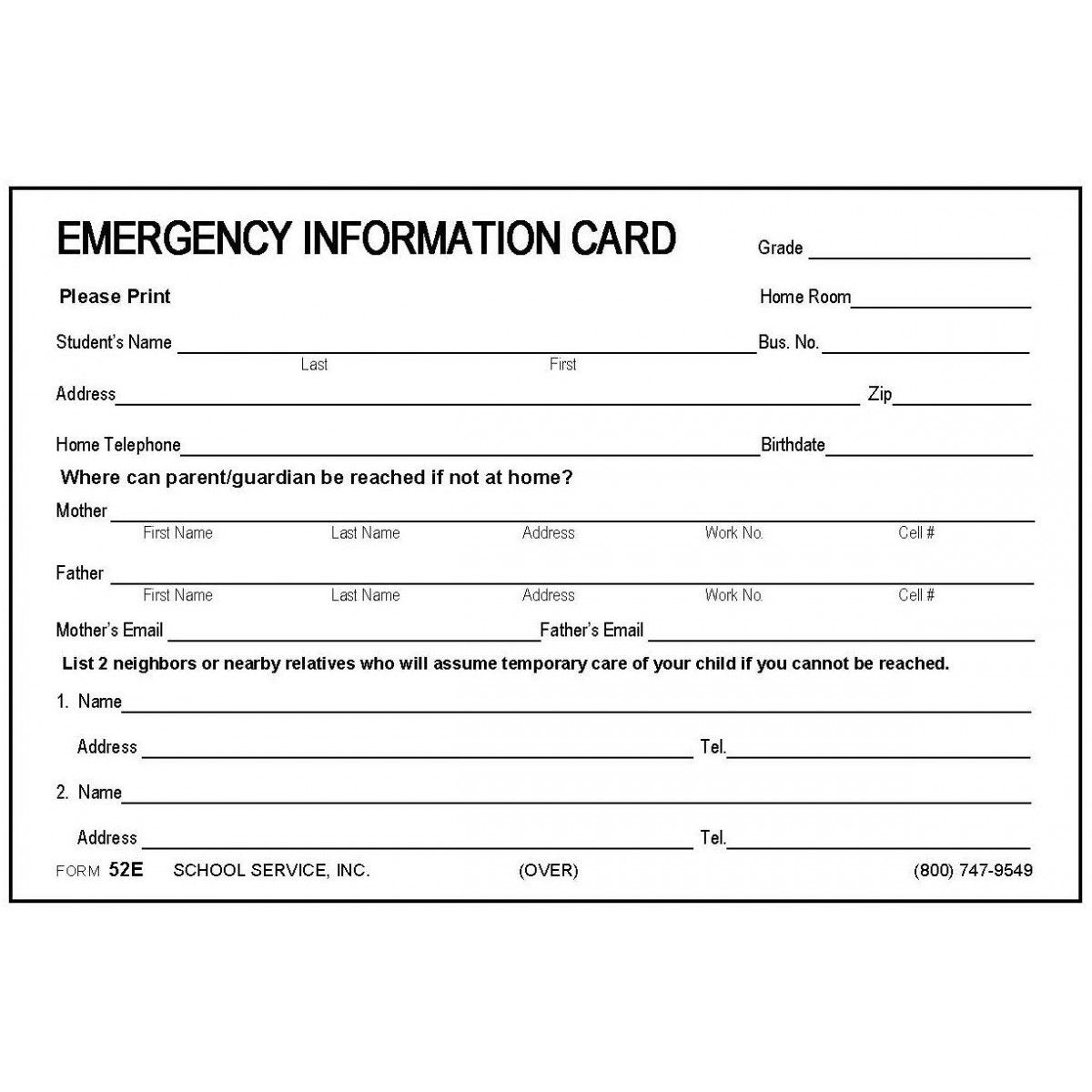 Emergency Contact Information Form Template With Regard To