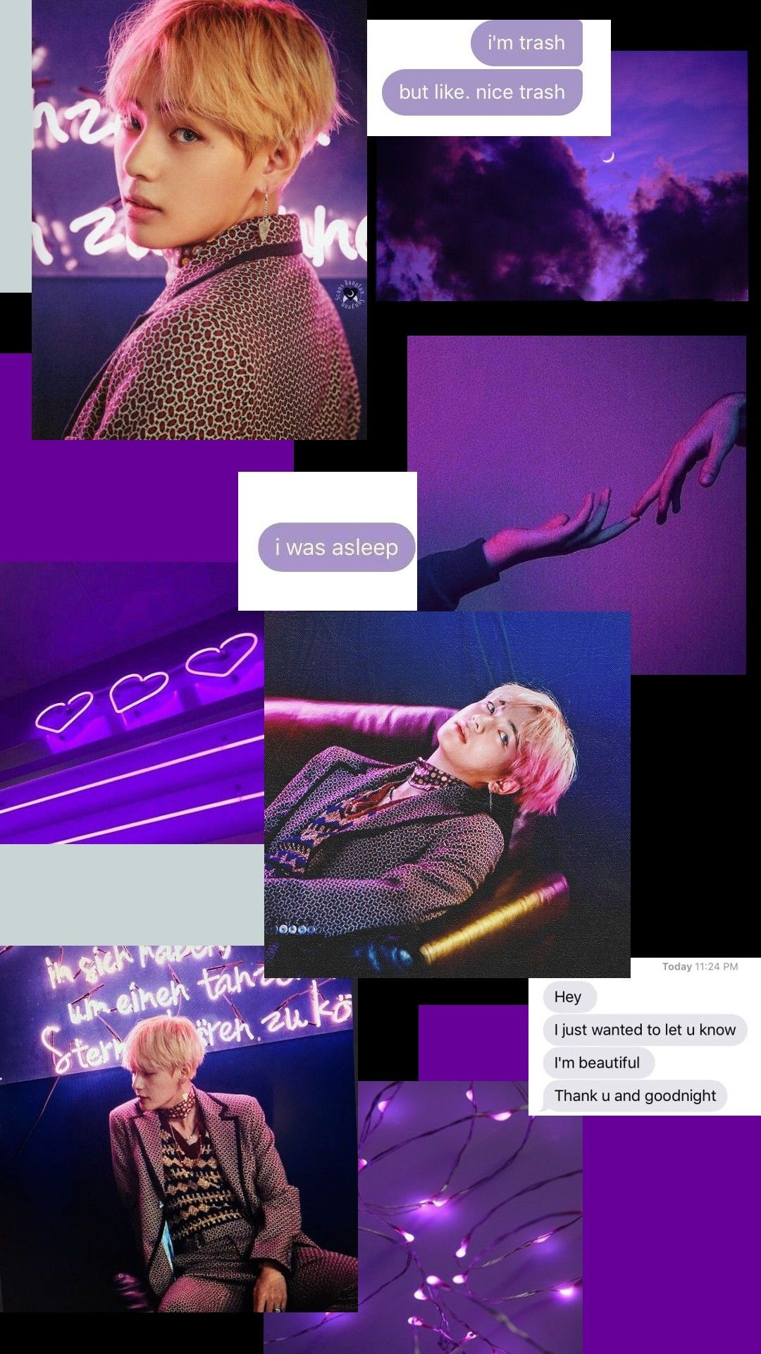 Purple Aesthetic Wallpaper With Taehyung V From Bts