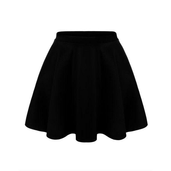 URBANCLEO Womens Solid Versatile A-Line Stretchy Flared Skater Skirt ($15) ❤ liked on Polyvore featuring skirts, saias, bottoms, flared skirt, skater skirts, flared hem skirt, circle skirt and stretchy skirt