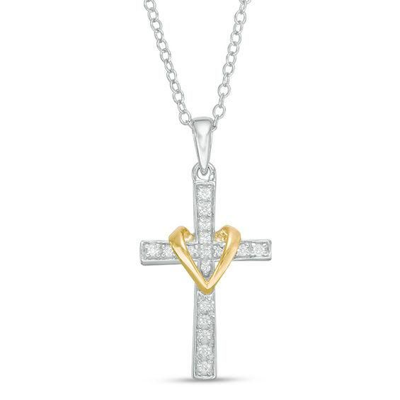 Zales 1/10 CT. T.w. Diamond Layered Knot Cross Pendant in Sterling Silver and 10K Rose Gold dQBNjVqcj