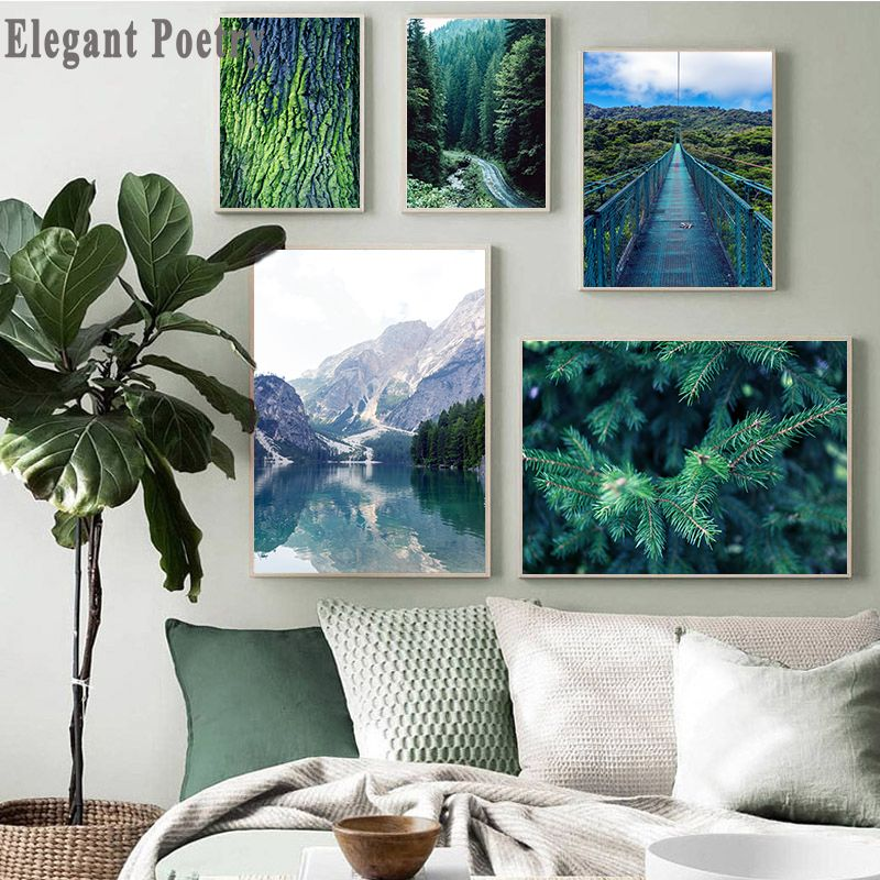 Landscape Canvas Art Poster Mountain Lake Forest Print Painting Picture Decor