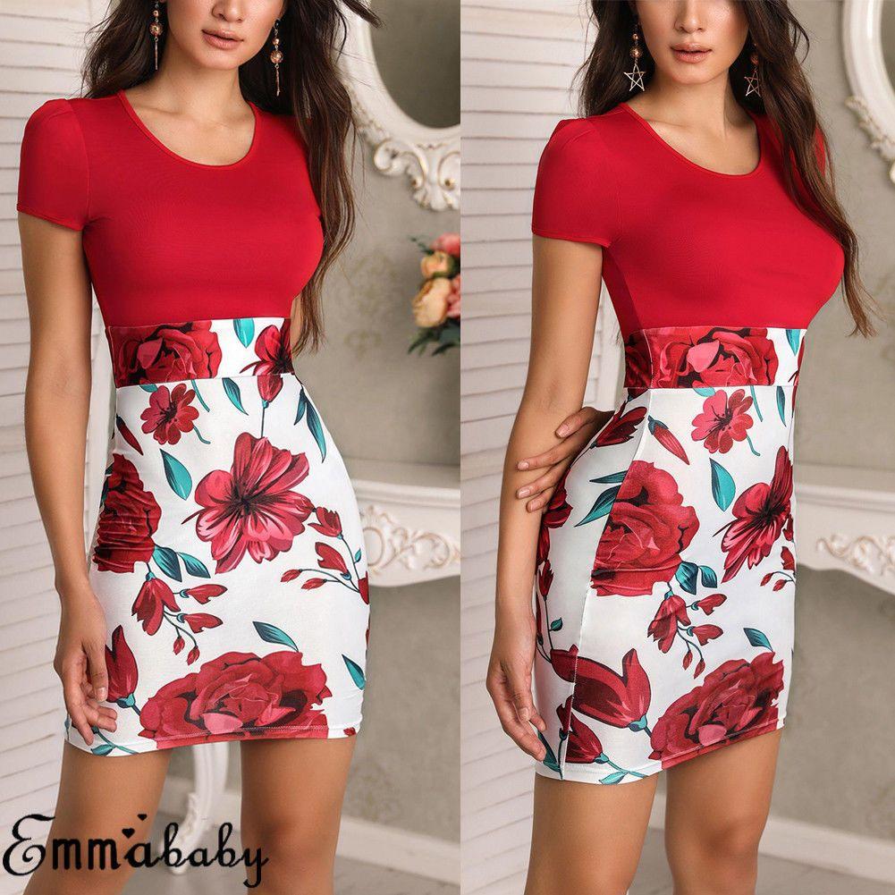 Womens floral maxi dress short sleeve evening party summer beach