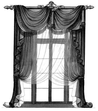 Regency Window With Draped Curtains.