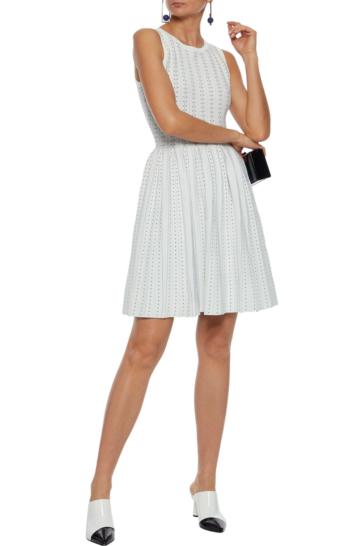 2b58ac90421 Pleated jacquard-knit mini dress