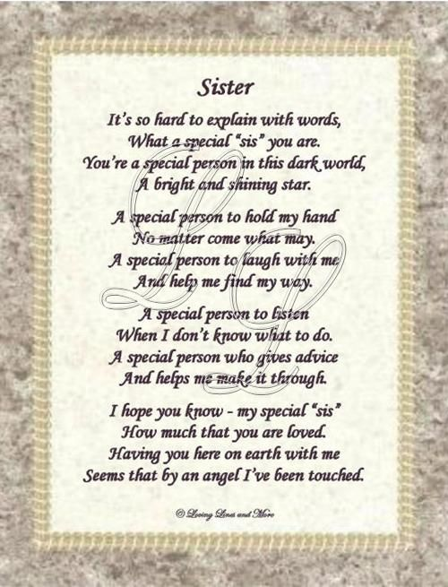My Sister Poems Very Special | Website Designed by Loving Lines ...