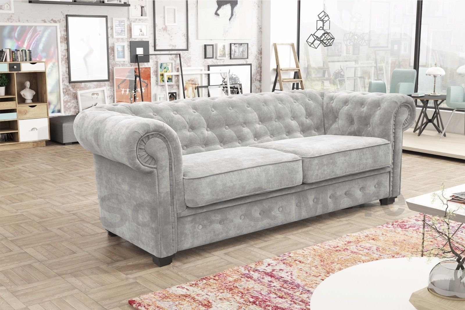 New Venus Chesterfield Style 2 Seater Sofa Bed Armchair Fabric Grey
