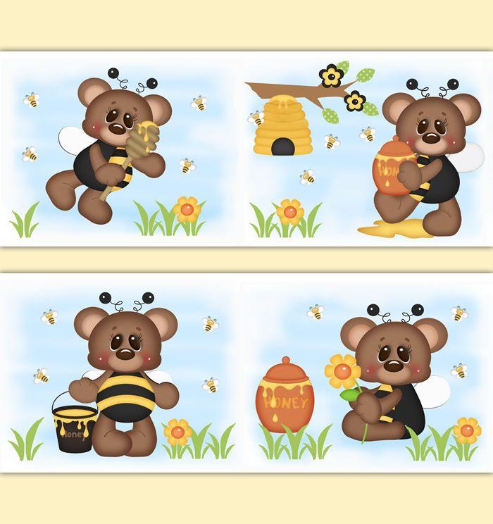 Teddy Bear Bumble Bee Nursery Girl Decor Wallpaper Border