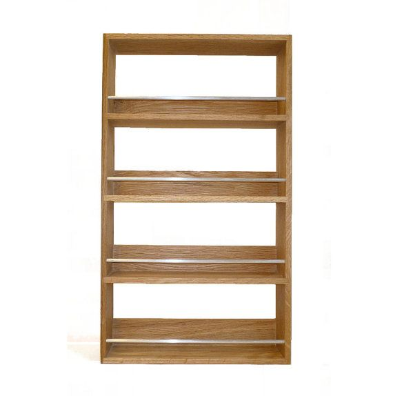 solid oak spice rack contemporary style 4 shelves freestanding or wall mounted kitchen storage wall mounted kitchen storage wooden spice rack spice rack pinterest
