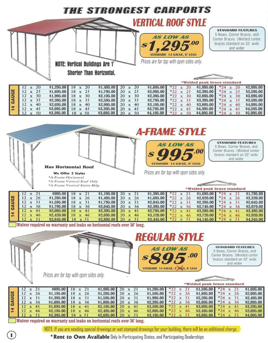 Lafayette Portable Buildings Carport And Rv Cover Price List Portable Carport Rv Cover Carport